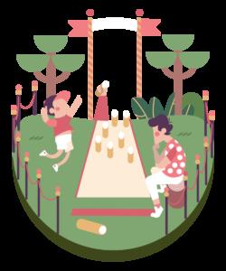 Kuvassa lapsi ja aikuinen pelaavat puistossa Mölkkyä